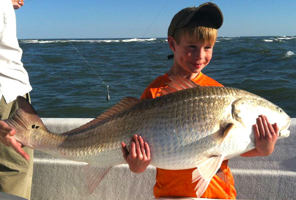 Nine Year Old Catches Giant Redfish